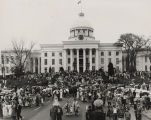 Crowd gathered for the reenactment of Jefferson Davis's inauguration at the Capitol in Montgomery,...