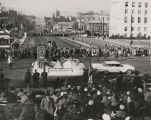 Franklin County float driving on Bainbridge Street in front of the Capitol in Montgomery, Alabama,...
