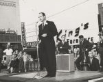 John Patterson making a speech in a downtown area in Alabama.