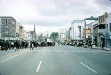 Looking up Dexter Avenue in as Selma to Montgomery marchers round the corner and head to the...