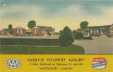 """Doby's Tourist Court, 3 Miles Southwest on Highways 31 and 80, Montgomery, Alabama."""