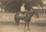 Virginia Adline King of Mount Pleasant, Alabama, on horseback as a young girl.