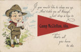 """If you would like to cheer me up, / And tickle me all through; / Just drop a line to Camp..."