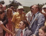 Sally Field shaking hands with Governor George Wallace, during the filming of NORMA RAE in...