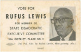 Honorable Rufus Lewis palmcard - State Democratic Executive Committee