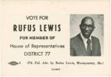 Honorable Rufus Lewis palmcard - House of Representatives