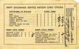 Army exchange service ration card for Raymond Grenier, issued for use in the European Theater of...