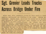 """Sgt. Grenier Leads Trucks Across Bridge Under Fire."""