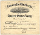 Certificate to William Venice Tingle from the United States Navy, granting him an honorable...