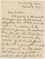Letter from Clifford Durr at the University of Alabama in Tuscaloosa, to his father, John, in...