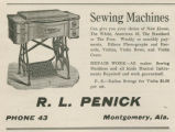 Advertisement for sewing machines at the store of R. L. Penick in Montgomery, Alabama.