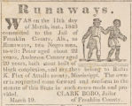 Advertisement for two captured slaves, submitted by Clark Bobo, jailor of Franklin County, Alabama.