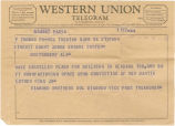 Telegram from Sol Diamond, vice president and treasurer of Diamond Brothers in Trenton, New...