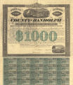 Bond for $1,000 issued by Randolph County, Alabama, to the Eufaula, Opelika, Oxford, and...