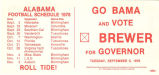 Gubernatorial campaign flier for Albert Brewer, featuring football schedules for the University of...