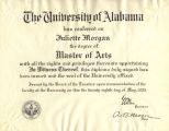 Juliette Morgan's Master of Arts diploma from the University of Alabama.