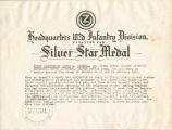 """Silver Star Medal"" certificate issued by the 102nd Infantry Division to First..."