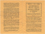 """Reply to the Anomymous [sic] 'Protest Against Woman's Suffrage in Alabama.'"""