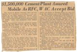 """$1,500,000 Cement Plant Assured Mobile as RFC, WAC Accept Bid."""