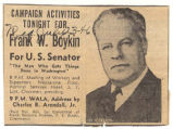 """Campaign Activities Tonight for Frank W. Boykin."""