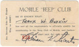 "Membership card for the  Mobile ""Beep"" Club."