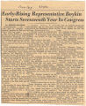 """Early-Rising Representative Boykin Starts Seventeenth Year in Congress."""