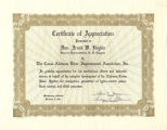 Certificate for Frank W. Boykin from the Coosa-Alabama River Improvement Association, Inc.
