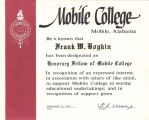 Certificate for  Frank W. Boykin from Mobile College.