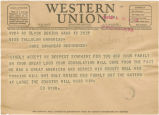 Telegram from Ed Wynn in Boston, Massachusetts, to Tallulah Bankhead in Washington, D.C.