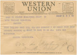 Telegram from Lionel Barrymore in Hollywood, California, to Tallulah Bankhead in Washington, D.C.