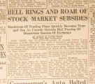 """Bell Rings and Roar of Stock Market Subsides."""