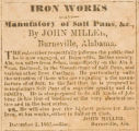 """Iron Works and Manufatory of Salt Pans, &c., By John Miller, Burnsville, Alabama."""