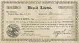 Bicycle license issued to Theo Hildreth in Morgan County, Alabama.