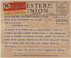 Telegram from O. F. Woolf, secretary of the United Textile Workers of America, to Governor...