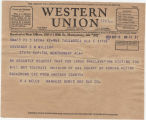 Telegram from R. A. Wells, manager of the Bemis Brothers Bag Company in Talladega, Alabama, to...