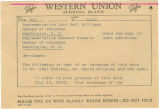 Telegram from Governor George C. Wallace to Congressmen John Bell Williams and Kenneth Roberts.