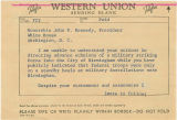 Telegram from Governor George C. Wallace to President John F. Kennedy in Washington, D.C.