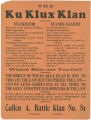 Flier issued by the Cullen A. Battle Klan in Tuskegee, Alabama, listing the issues the Ku Klux...