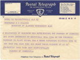 Telegram from the members of the Chamber of Commerce in Huntsville, Alabama, to Governor Benjamin...