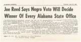 """Joe Reed Says Negro Vote Will Decide Winner of Every Alabama State Office."""