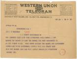 Telegram from Robert Lee in Birmingham, Alabama, to Senator John Bankhead in Washington, D.C.