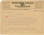 Telegram from S. J. Bell and other men in Opelika, Alabama, to Senator John Bankhead in...
