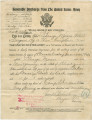 Certificate granting George Moses an honorable discharge from the army at the end of World War I.