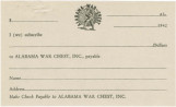 Blank form for pledging money to the Alabama War Chest, Inc.