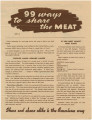 """99 Ways to Share the Meat,"" by the Bureau of Human Nutrition and Home Economics of the..."