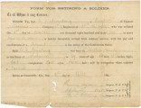 """Form for Retiring a Soldier,"" granting C. J. Armstrong an honorable discharge from the..."