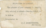 Card advertising a dancing school to be conducted by C. J. Armstrong.