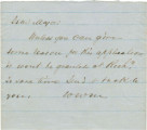 Note from W. W. M. to an unidentified major.