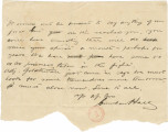 Letter from Crenshaw Hall, probably to his father, Bolling, in Alabama.