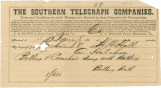 Telegram from Bolling Hall in Richmond, Virginia, to his son, Hines, in Alabama.
